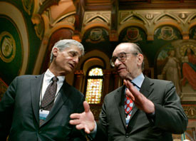 Alan Greenspan talks to Robert Rubin at the Conference on U.S. Capital Market Competitiveness in Washington in 2007. Jim Young / Reuters