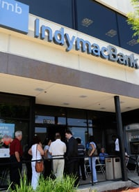 Customers wait outside the Encino branch of IndyMac Bank in Los Angeles on July 17, 2008. (Phil McCarten/Reuters)