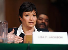 Lisa Jackson answers a question at her confirmation hearing on Capitol Hill. (Jonathan Ernst/Reuters)