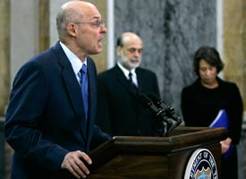 U.S. Treasury Secretary Henry Paulson speaks at a news conference in Washington on Tuesday. Hyungwon Kang / Reuters