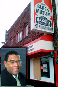 Your Black Muslim Bakery is seen in North Oakland, Calif., in this August 5, 2007 picture. Chauncey Bailey, inset, was allegedly killed at the direction of the former leader of Your Black Muslim Bakery. (Inset: Courtesy of The Chauncey Bailey Project; Eric Auchard/Reuters)