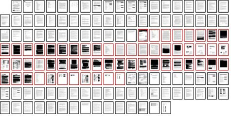 The Smartronix contract. Nearly half of the pages in the technical proposal (outlined in red in the graphic above) are blacked out. (Dan Nguyen/ProPublica)