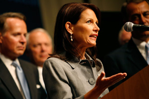 Rep. Michele Bachmann, R-Minn., speaks during a press conference about Republican presidential nominee Sen. John McCain's energy policy at the Republican National Convention. (Max Whittaker/Getty Images)