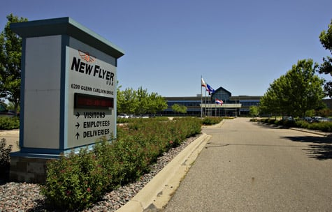 The entrance to the New Flyer manufacturing facility in St. Cloud, Minn. (Jason Wachter/ProPublica)