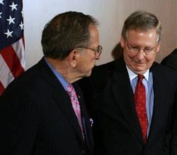Ted Stevens with Mitch McConnell (Joe Raedle/Getty Images)
