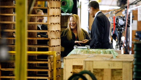 President Barack Obama talks to workers at the Cardinal Fasteners & Specialty Company in Bedford Heights, Ohio. (Chip Somodevilla/Getty Images)