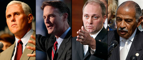 ProPublica's Super Bowl Blitz found that Rep. Mike Pence, R-Ind., Sen. Evan Bayh, D-Ind., Reps. Steve Scalise, R-La., and John Conyers, D-Mich., are all attending this year's big game in Miami, Fla. (Getty Images)