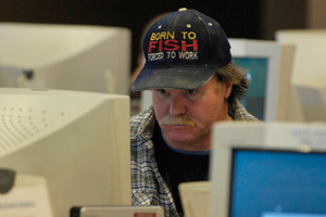 Steve Campbell, of Middleton, Idaho, files for unemployment at the Idaho Department of Labor office in Caldwell in January. (Charlie Litchfield/AP Photo/Idaho Press-Tribune)