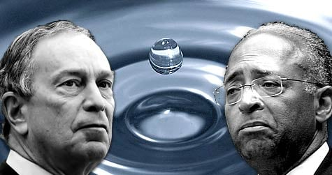 "NYC mayoral candidate William Thompson criticized the state's tentative proposal to allow drilling in the watershed. Mayor Bloomberg's office said water safety is ""not a fringe issue for this administration."" Photo credit: Water drop (WikiCommons/Sven Hoppe), Mayor Bloomberg (Stephen Chernin/Getty Images), William Thompson (Reuters/Patrick Andrade)"