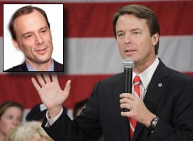 In October, John Edwards called editor John Drescher, inset, and told him off-the-record the then-alleged affair didn't happen. (Credit: News & Observer/Lauren Victoria Burke/wdcpix.com)