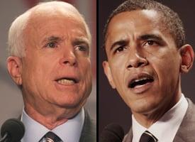 Sens. John McCain and Barack Obama (Credit: Lauren Victoria Burke/wdcpix.com)