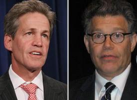 Sen. Norm Coleman, R-Minn., and Democratic challenger Al Franken (wdcpix.com, Wikimedia Commons)