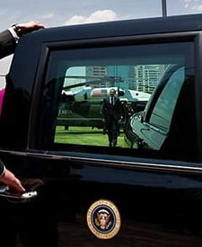 President Obama heads to the motorcade in Mexico City on April 16, 2009. (Pete Souza/White House)