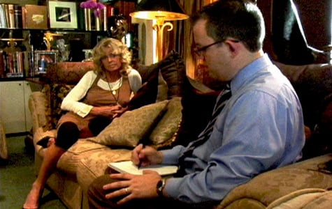 Farrah Fawcett with reporter Charles Ornstein at her home in Los Angeles. (Windmill Entertainment LLC)