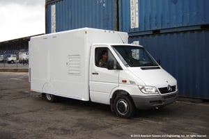 The Z Backscatter Van, essentially a x-ray scanner on a truck, can scan while driving alongside a line of vehicles or while parked as they pass by. (Photo courtesy of the American Science & Engineering Inc.)