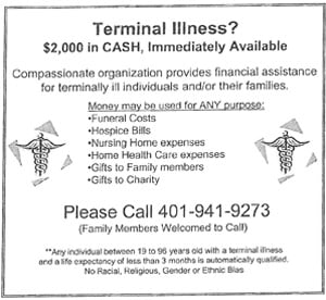One of the weekly advertisements Caramadre placed in the Rhode Island Catholic.