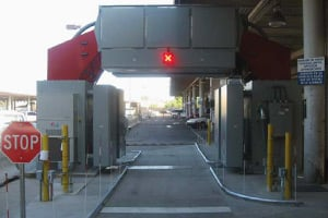 The Z Portal vehicle screening system, also made by AS&E, installed at the San Ysidro border crossing near San Diego, Calif. (Photo courtesy of Customs and Border Protection)