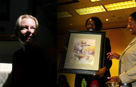Anette Ekelius was able to covertly get jobs at hospitals--and steal drugs--while in the California's program for substance abusing nurses. Center-right: Carol Stanford, who has directed the board's diversion program since 2006, presents a painting done by a program graduate to Ruth Ann Terry, who was executive officer of the Board of Registered Nursing at the time this photo was taken in June 2009. Terry resigned after a ProPublica and Los Angeles Times investigation revealed flaws in the nursing board's oversight  (Liz O. Baylen / Los Angeles Times)