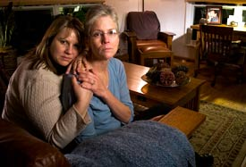 Vickie Burton, who lost her husband Steven after he was in the care of Psychiatric Solutions Inc. at Sierra Vista Hospital in Sacramento, is comforted by daughter Carrie Thomas in Camino, Calif. (Photo By: Peter DaSilva for The Los Angeles Times)