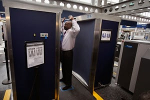 A Transportation Security Administration volunteer demonstrates a full-body scanner at O'Hare International Airport in Chicago, Ill., on March 15, 2010. (Scott Olson/Getty Images)