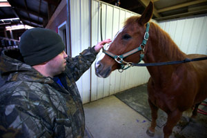 Bobby McKinney pats a horse at the Chastain Horse Park in Atlanta. (John W. Poole/NPR/Redux)