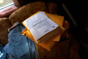 The letters and medical documents Michelle Dyarman has collected over the past five years as she fought to be diagnosed and treated for her traumatic brain injury. (David Gilkey/NPR)