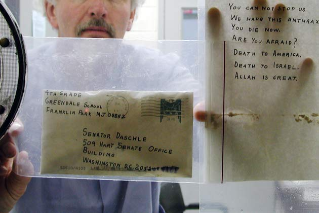 Daschle letter and envelope