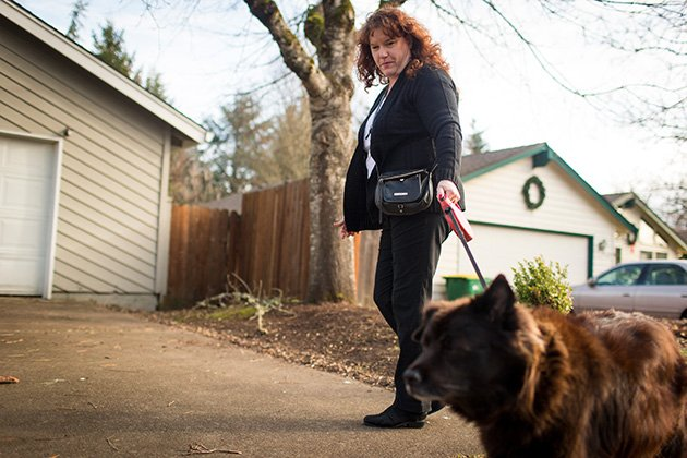 Muss-Jacobs, shown in her Beaverton, Ore., neighborhood, walks with a limp and has a faded, foot-long scar on her knee. (Leah Nash/Special to ProPublica)