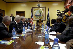 Chevron CEO John Watson and his delegation meet with President Ellen Johnson Sirleaf and members of her Cabinet. (NOCAL)