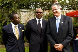 From left, NOCAL CEO Chris Neyor, Advisor to the President Robert Sirleaf and Chevron CEO John Watson. (NOCAL)