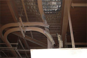 Conduit for electrical cables damaged by the fire at the H.B. Robinson plant. (Photo courtesy of NRC)