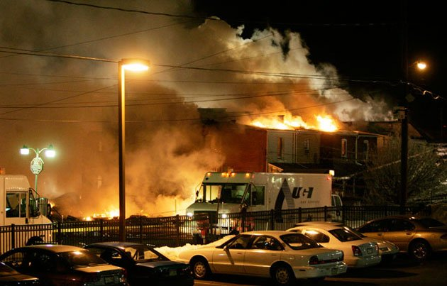a fire rages through allentown pa after a gas line explosion in feb 2011