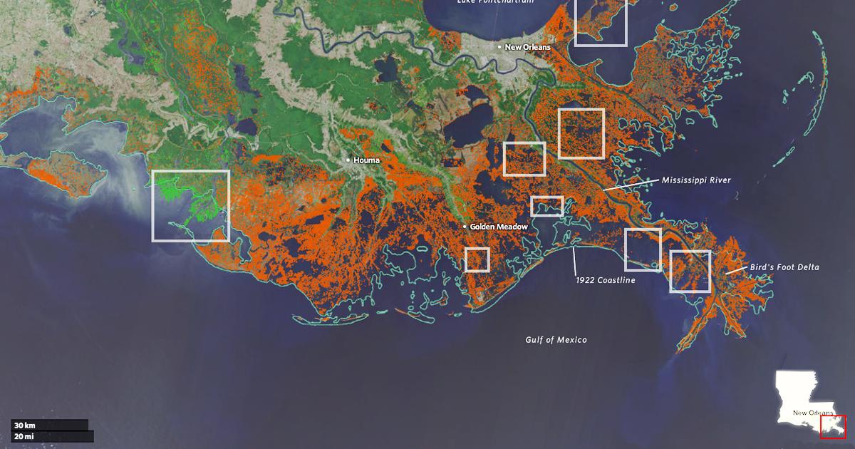 Losing Ground - Louisiana sea level map