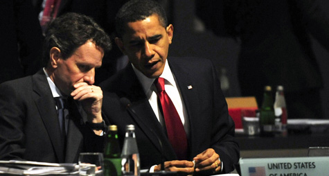 President Barack Obama, right, and Treasury Secretary Timothy Geithner take part in a round table meeting in London on April 2, 2009 during the G20 summit. (Dominique Faget/AFP/Getty Images)