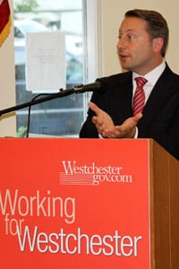 Westchester County Executive Rob Astorino speaks at a town hall event in North Salem, N.Y., on June 13.  (AP Photo/Westchester County Executive's Office, Carl Pagano)