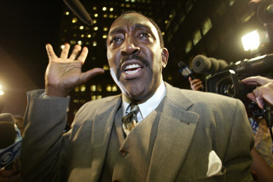 Vecchione's first major case as head of Brooklyn's Rackets bureau was against Brooklyn Democratic Party Leader Clarence Norman, seen here waving to supporters before surrendering to the district attorney. (Diane Bondareff/AP Photo)