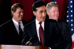 Henry Cisneros, the former mayor of San Antonio, Texas, acknowledges his family on Dec. 17, 1992, after being appointed secretary of Housing and Urban Development by President-elect Bill Clinton. In his confirmation hearing, Cisneros told senators that if he became HUD secretary, the agency's passivity on integration would end. (Chris Wilkins/AFP/Getty Images)