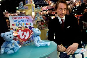 Ty Warner, creator of Beanie Babies toys, signs autographs to celebrate the 10th anniversary of the Beanie Babies toy line at the American International Toy Fair on Feb. 16, 2003 in New York, N.Y. (Chris Hondros/Getty Images)