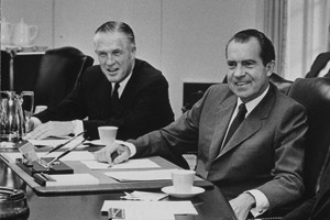 HUD Secretary George Romney and President Richard Nixon during a Cabinet meeting on June 23, 1969. (Jack E. Kightlinger/National Archives and Records Administration)