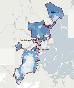 View our interactive feature of Fair Districts Mass's maps and our analysis