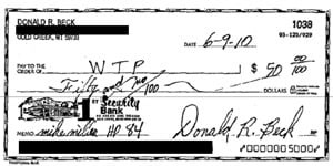 A check made out to the Western Tradition Partnership, showing support for the campaign of Mike Miller in the Memo.