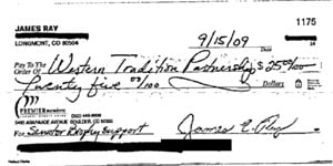 A check made out to the Western Tradition Partnership, showing support for the campaign of Greg Brophy in the Memo.