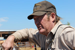 Tom Davis at his corrals in La Jara, Colo. (Dave Philipps)