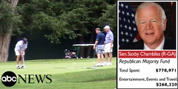 Sen. Saxby Chambliss, far right, golfs with lobbyists at The Greenbrier in West Virginia in July 2009. (Photo courtesy of ABC News; Graphic by Dan Nguyen/ProPublica)