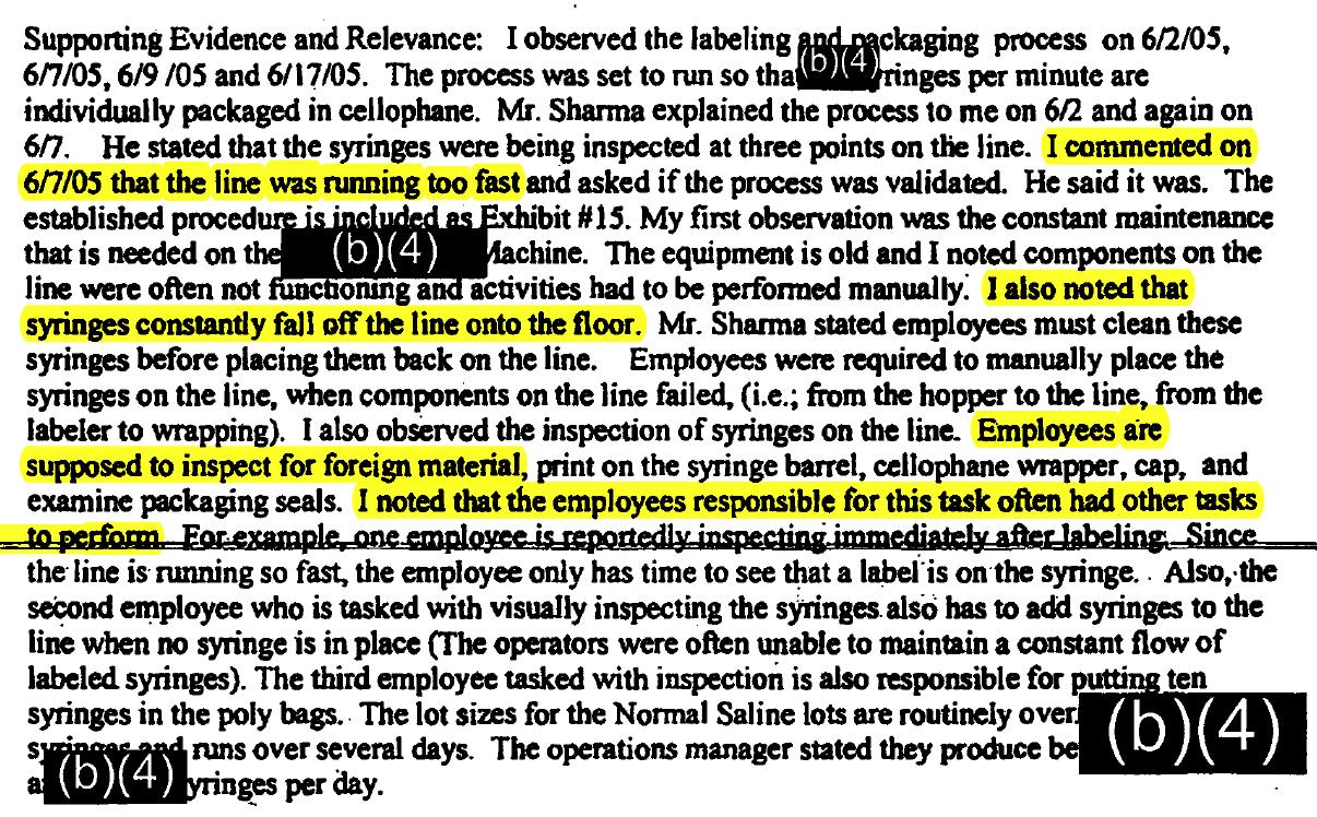 Excerpt of the complaint
