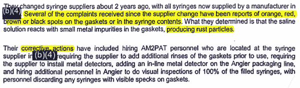 Aug. 1, 2007: FDA inspector, unaware of a massive recall of AM2PAT syringes just days ago, meets with AM2PAT managers. Her report does not indicate her taking samples of syringe fluid or checking machine calibration.