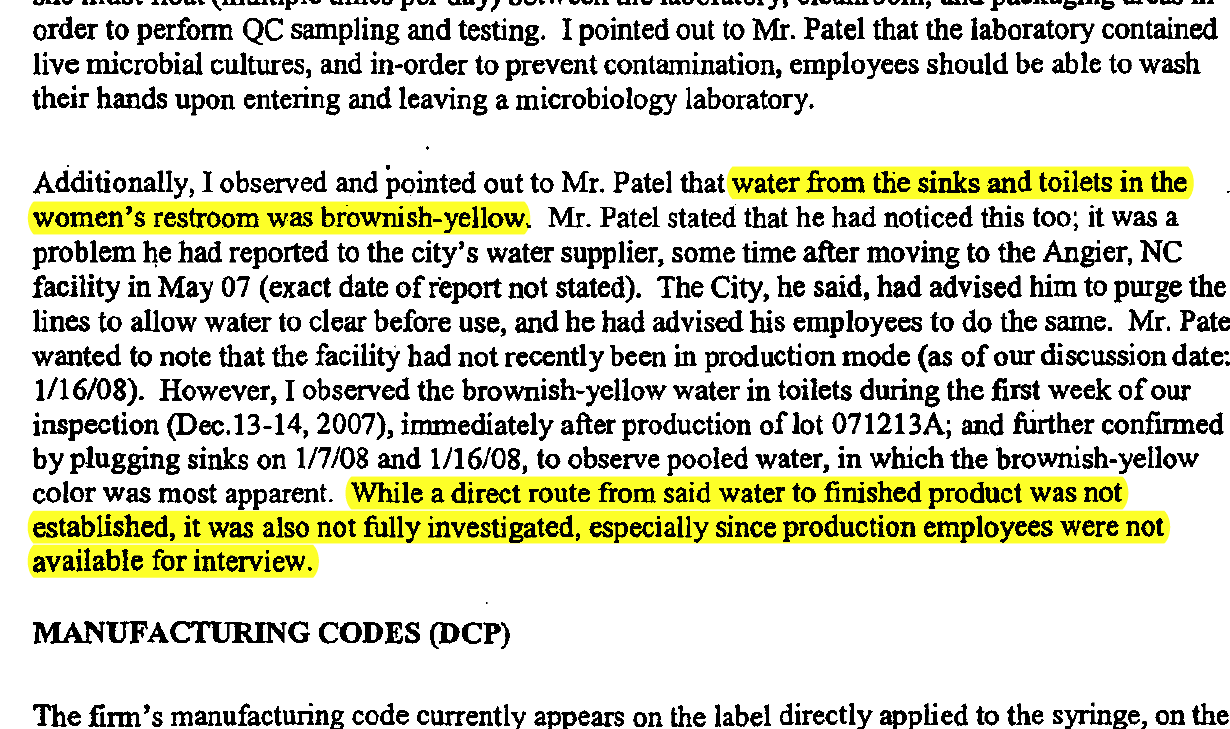 An FDA inspection reveals brown water coming from the faucets of the AM2PAT facility.