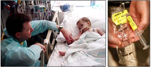 Left: Leslie Fullerton holds the hand of his daughter, Natalie, who survived a double-lung transplant operation. Right: Leslie holds a syringe from the same batch that has been linked to scores of infections and several deaths, including his daughter's. (Fullerton family photo, Chicago Tribune/Chris Walker)