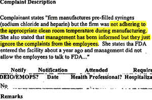 Consumer Complaint/Injury Report to the FDA, June 20, 2007