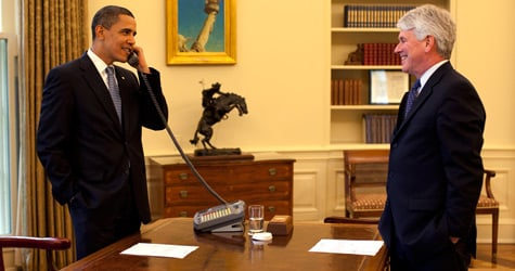 President Barack Obama talks on the phone while White House Counsel Gregory Craig stands by. Craig no longer heads the administration's initiative to close the prison at Guantanamo, according to two senior administration officials. (Official White House Photo by Pete Souza)